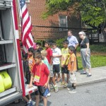 Kids get up-close look at a firetruck
